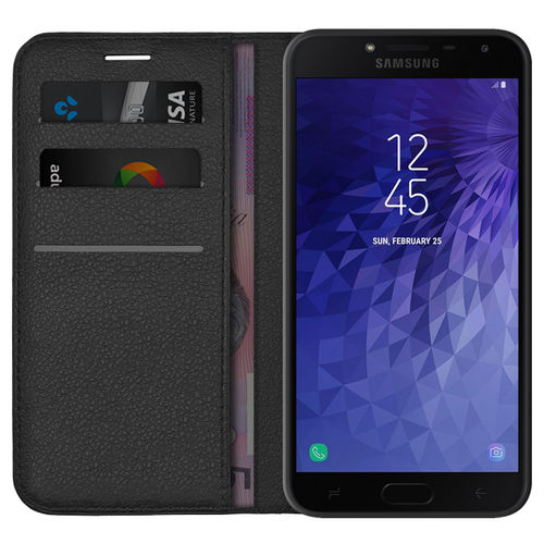 Leather Wallet Case Card Holder Pouch - Samsung Galaxy J4 - Black